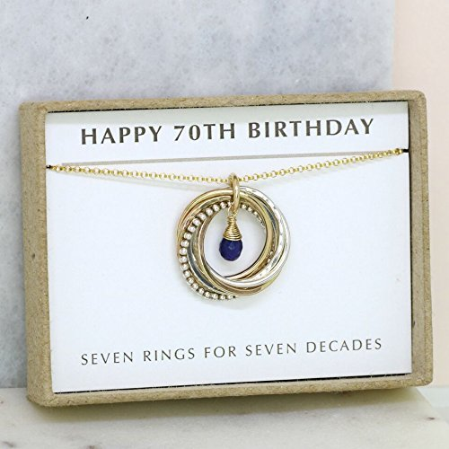 70th Birthday Gift September Birthstone Necklace For Mum Blue Sapphire Jewellery