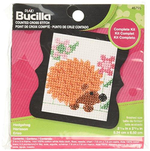 - Bucilla 45755 Counted Cross Stitch Beginner Stitchery Mini Kit, Hedgehog