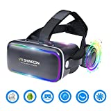 3D VR Headset Virtual Reality Glasses -for 3D Movies Video Games Comfortable VR Goggles with Stereo Adjustable Headphone Compatible with All IOS/Android Smartphones within