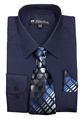 "(Fortino Landi Men's Long Sleeve Dress Shirt With Matching Tie And Handkerchief (16-16.5"" Neck 34/35"" Sleeve (Large), Navy))"