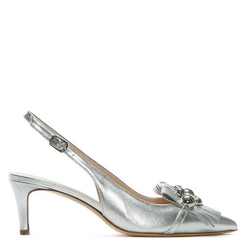 Daniel Luner Silver Metallic Leather Embellished Sling Back Heels   Amazon.co.uk  Shoes   Bags d6e46adb46c2
