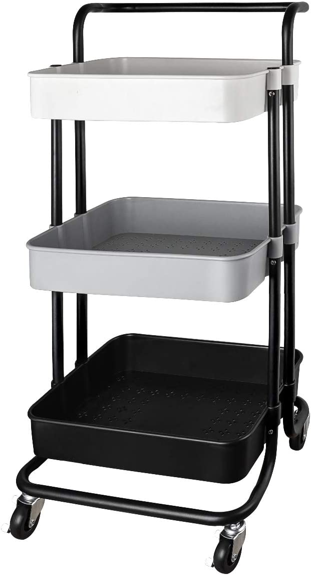 QiMH 3 Tier Rolling Storage Cart Heavy Duty Mobile Rolling Utility Cart with Handle Wheels Multifunction Large Storage Shelves Organizer with Mesh Basket Trolley for Kitchen, Bathroom, Bedroom, Office