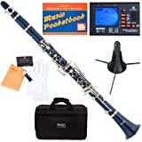 Mendini MCT-BL+SD+PB+92D Blue ABS B Flat Clarinet with Tuner, Case, Stand, Mouthpiece, 10 Reeds and More
