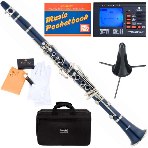 Mendini MCT-BL+SD+PB+92D Blue ABS B Flat Clarinet with Tuner, Case, Stand, Mouthpiece, 10 Reeds and More by Mendini