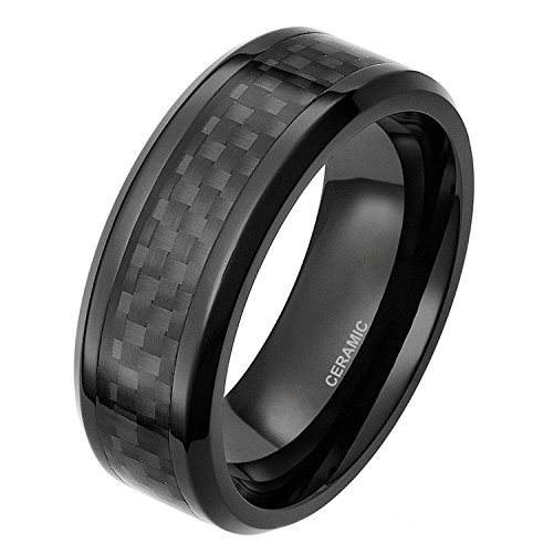 SOMEN TUNGSTEN 8mm Black Ceramic Ring with Black Carbon Fiber Inlay Wedding Band for Him and Her Size 12.5 by SOMEN TUNGSTEN