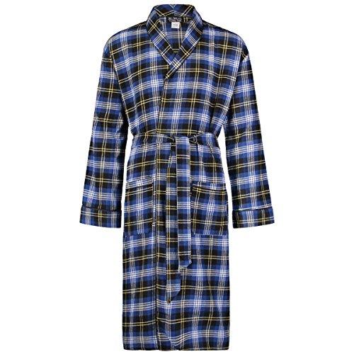 Bill Baileys Men's Long Sleeve Premium 100% Cotton Flannel Robe Lightweight Sleep & Morning Robe (Large/X-Large, Blue Plaid)