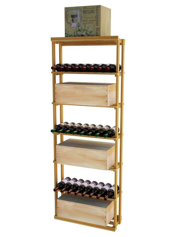 Wine Cellar Innovations TR-UN-RBC-G2-A3 Traditional Series Rectangular Bin Case Wine Rack, Premium Redwood, Unstained