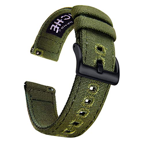 Ritche Canvas Quick Release Watch Band 18mm 20mm 22mm Replacement Watch Straps for Men Women (Army Green/Black, 20mm) (Army Watch Band)