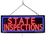 Large LED Window Auto Business Sign - State INSPECTIONS - Extra Bright LEDs - Can Be Seen Through Tinted Windows - Extra Large - 32 inches Wide (#2570)