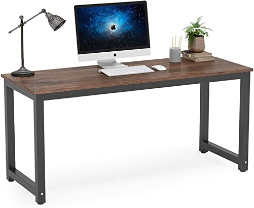 Tribesigns Computer Desk, 63 inch Large Office Desk Computer Table Study Writing Desk Workstation for Home Office, Rustic Brown