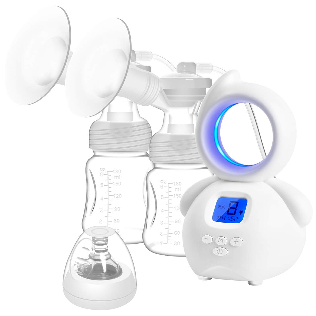 Double Electric Breast Pump - YIHUNION Portable Silicone Breastfeeding Pump for Baby Feeding Milk Rechargeable 1200mAh Battery with Adjustable Massage & Suction Level and Backflow Protector