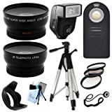 Ultimate Accessory Package for Nikon D3000, D3100, D3200, D5100, D5200, D5300, D7100, D7000 Digital SLR Cameras Includes: Full size Tripod + 52mm Wide Angle and Telephoto Lens + Flash + Filter Kit and Hood + Wireless Remote