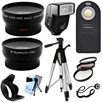Ultimate Accessory Package for Nikon D3000, D3100, D3200, D5100, D5200, D5300, D7100, D7000 Digital SLR Cameras Includes: Full size Tripod + 52mm Wide Angle and Telephoto Fixed Lens + Flash + Filter Kit and Hood + Wireless Remote