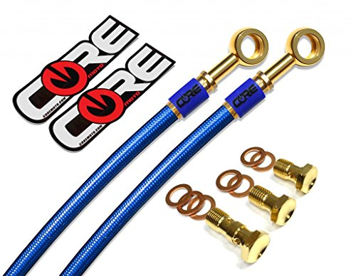 Core Moto - Kawasaki ZZR1200 2002-2004 Performance Front Brake Lines - Translucent Blue lines 24K Gold Plated banjos and bolts Blue Logo Tags ()