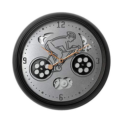 クォーツ時計サイレントホイール形状時間正確なギア節約エネルギーと耐久性のあるメタルウォールクロック用リビングルームキッチンスクールバーホテル(15インチ)   B07R1M8GCR