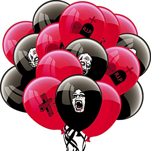 Halloween Black and Red Latex Balloons for Zombie