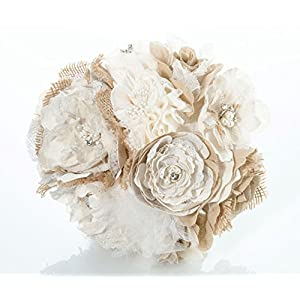 Lillian Rose Rustic Country Wedding Burlap Flower Bouquet, 7.5″, Ivory, Taupe