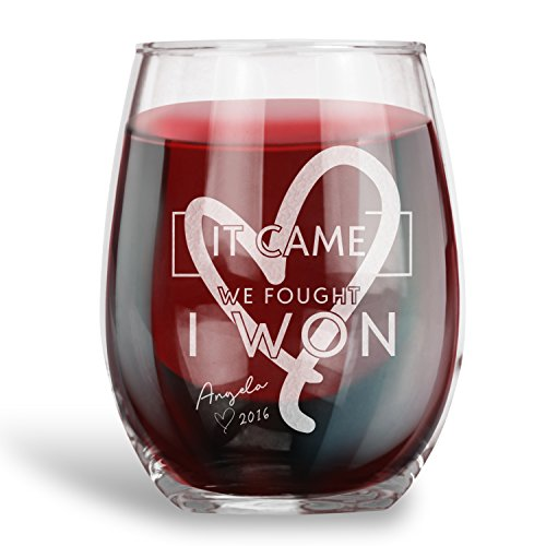 Breast Cancer Survivor Gift, Personalized 15 oz. Stemless Wine Glass | It Came We Fought I Won |Engraved with NAME and YEAR