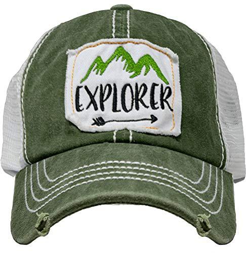 BH-200-EXPLORER22 Patch Mesh Baseball Hat - Explorer - Green