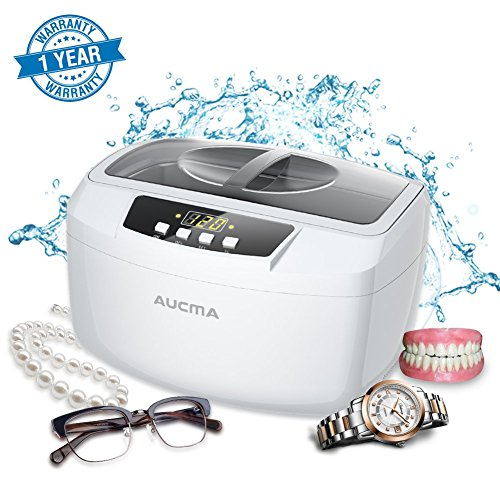 Ultrasonic Cleaner Professional Industrial Heated Ultrasonic Cleaners with Digital Timer for Jewelry Eyeglasses Lenses Necklaces Watches Rings Denture Coins, 2.6Qt/2.5L (Swiss Army Set Bracelet)
