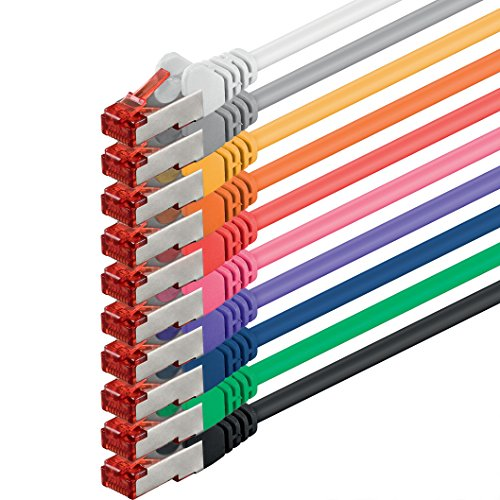 1aTTack CAT6 SSTP doppelt geschirmt Netzwerk Patch Kabel mit 2 x RJ45 Stecker Set (10 Farben, 10 Stück) 0,25m
