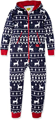 Tipsy Elves Ugly Christmas Sweater Party - Fair Isle Blue Adult Jumpsuit Size S
