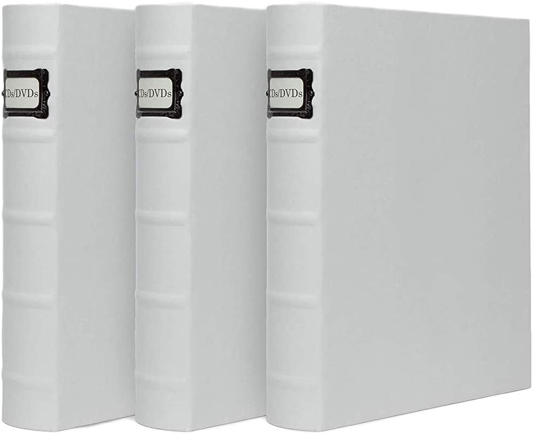 DVD Binder by Bellagio-Italia, Full White Faux-Leather - DVD Storage for Home or Office - DVD Storage Binder Stores up to 48 DVDs, CDs, Video Games, or Blue-Rays (3)