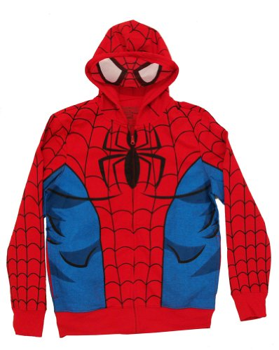 Spiderman Mask Costume Full Zip Hoodie (Large, Red)