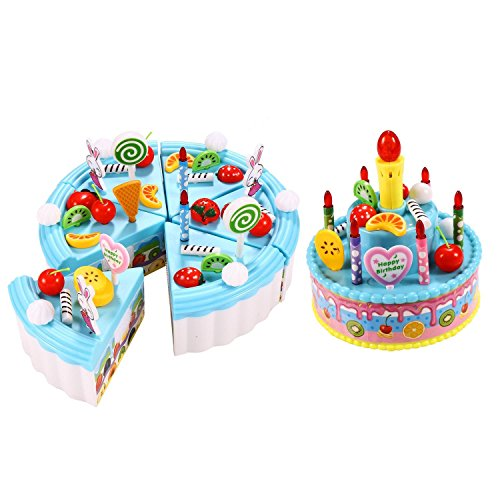 Dtemple Children Triple-Layer Pretend Play Cake Set Toys Party Cake with Candles Musical Pink Christmas Gift for Girls Boys (Blue)