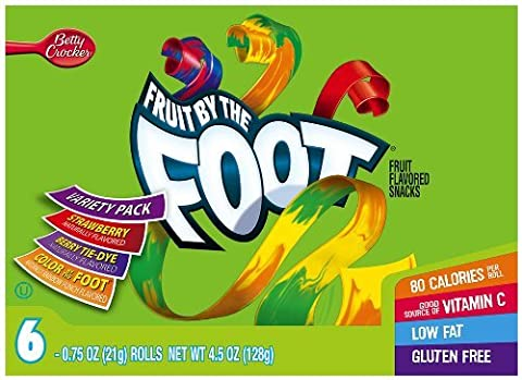 Fruit by the Foot Variety Pack (Strawberry, Color by the Foot, Tie Dye), 6-Count Rolls, 0.75 Ounce, (Pack of 12) by Fruit by the Foot