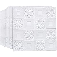 3D Self-adhesive 10-Piece Wallpaper Sticker, White