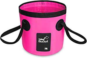 AINAAN Multifunctional Collapsible Portable Outdoor Basin Folding Bucket Water Storage Bag for Camping Hiking Travel Fishing Caravan Washing, 20L, Pink