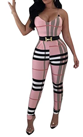 e6dbfb451968 Amazon.com  ARTFFEL-Women Spaghetti Strap V-Neck Plaid Print Bodycon Club  Jumpsuits Romper  Clothing