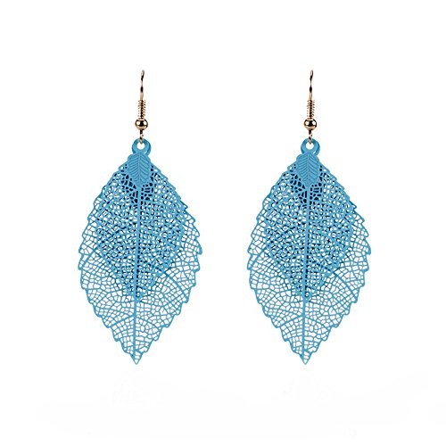 puxiaoa Girls Metal Openwork Color Leaf Pendant Earrings Women Jewelry Gifts