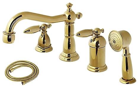Rubinetto Vasca Da Bagno : Retro nostalgico bagno 4 buco rubinetto vasca da bagno oro: amazon