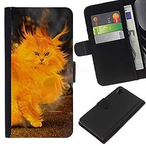 KingStore / Leather Etui en cuir / Sony Xperia Z2 D6502 / Gato Fuego Pintura del corazón Llamas Amarillo