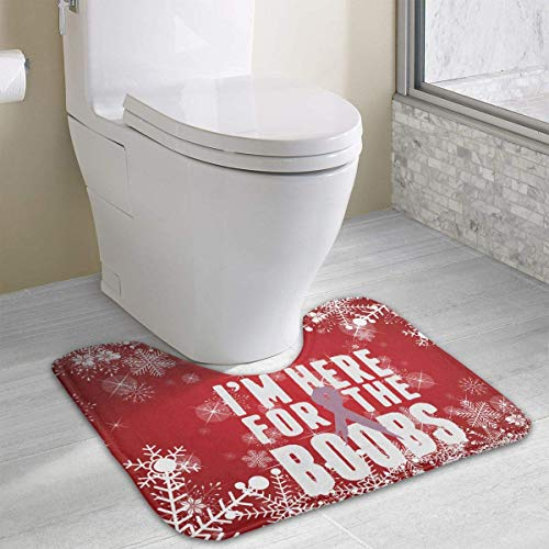 Bennett11 I'm Here for The Boobs Cancer U-Shaped Toilet Floor Rug Non-Slip Toilet Carpets Bath Mats Rug 19.2″x15.7″