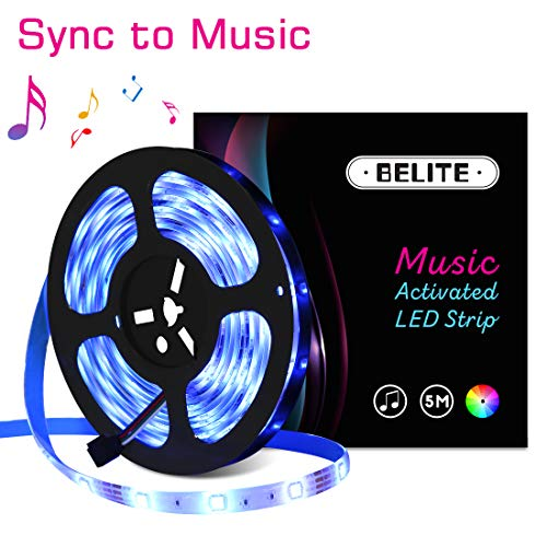 BELITE Led Strip Lights Sync to Music 16.4FT/5M 150 LED Lights 5050 RGB Light Color Changing with Music IP65 Waterproof LED String Lights Kit with IR Controller+ 12V 2A Power
