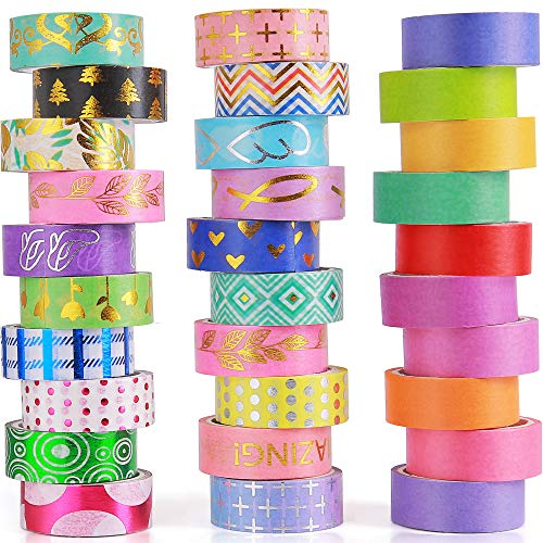 30 Rolls Washi Tape Set 15mm, Include 20 Gold Foil Masking Tapes 10 Rolls Colorful Rainbow Tapes for Scrapbooking,Bullet Journals,DIY, Art Craft and Gift Wrapping
