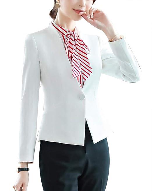 Mujeres Manga Larga Outwear 2 Piezas Ajuste Oficina Traje De ...