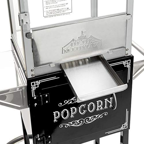 Olde Midway Vintage Style Popcorn Machine Maker Popper with Cart and 8-Ounce Kettle - Black