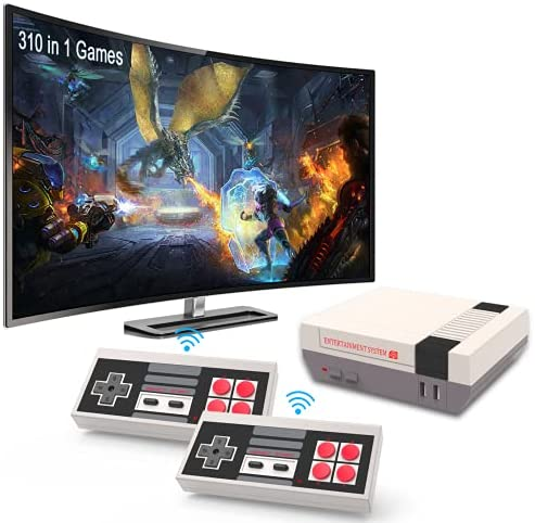 EASEGMER Retro Game Console with 310 Games – Electronic Games System for Kids & Adults with Wireless Games Controllers and Support 2 Player Games, Best Video Games for Travel, Kids & Men Gifts
