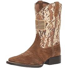 Kids' Patriot Western Boot, Antique Mocha Washed Suede, 9 M US Toddler