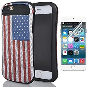 WQQ Two-in-One American Flag Design PC and Silicone Cover and Protective Film for iPhone 6