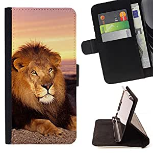 Super Marley Shop - Leather Foilo Wallet Cover Case with Magnetic Closure FOR Sony Xperia Z2 L50t L50W L50U- Lion