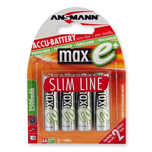 ANSMANN maxE AA Rechargeable Batteries 2500mAh Slimline pre-charged Low Self Discharge (LSD) for remote, flashlight etc. More Power High Capacity (4-Pack)