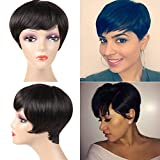 Short Human Hair Wigs for Black Women 100% Unprocessed Short Pixie Cute Wig Free Part Brazilian Human Hair Wigs 85g Short Wigs for Black women Can Be Dyed And Bleached Natural Color