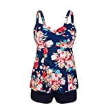 Dreaweet Women's Retro Plus Size Floral Patchwork Two Pieces Tankini Swimsuit Swimdress (X-Large, Flower)