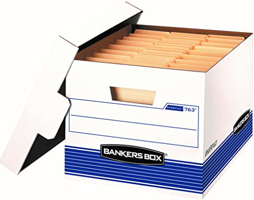 Bankers Box Side Tab Storage - Bankers Box STOR/File Medium-Duty Storage Boxes, FastFold, Lift-Off Lid, Letter/Legal, Value Pack of 20 (0076315)