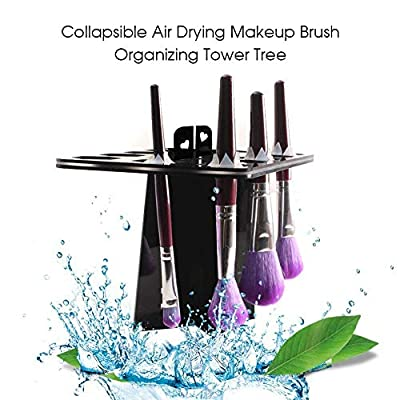 BEAKEY Makeup Brush Drying Rack & Makeup Brush Cleaning Mat, 28 Holes Makeup Brush Holder, Silicone Rubber Apple Shaped Mat - Black